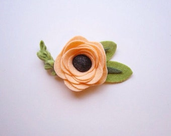 Peach Felt Flower Headband or Hair Clip
