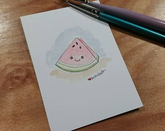 OOAK Mini Doodle Painting of a slice of Watermelon