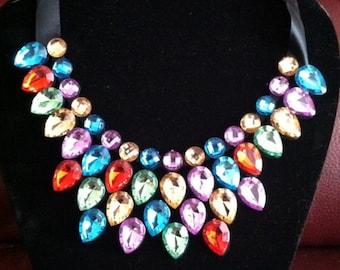 Beautiful Multicolored Rhinstone Bib Statement Necklace
