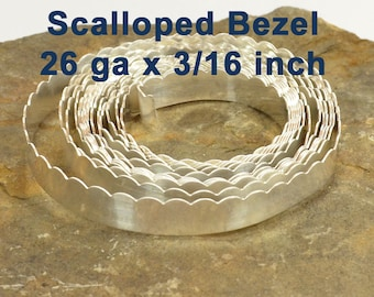 """26ga x 3/16"""" Scalloped Bezel Wire - Fine Silver - Choose Your Length"""