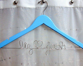 Something Blue Personalized Wedding Dress Hanger, Custom Painted, Wire Heart Names, Personalized Wedding Gift, Wooden Hanger, Bride Gift