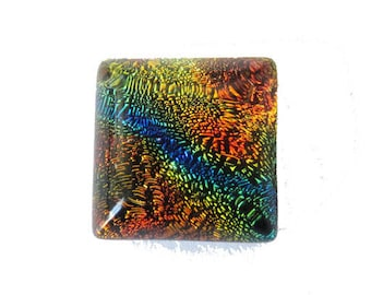 Handmade square 10mm multicolored Dichroic Glass cabochon
