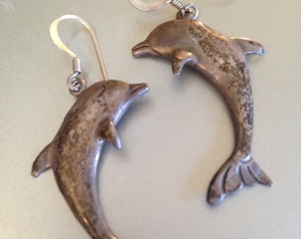 Sterling Silver Earrings Dancing Dolphin