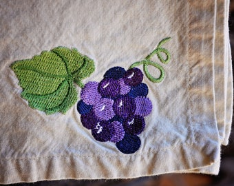 Vintage cloth napkins with hand-embroidered grapes and leaves (vintage, cloth napkins, table linens, embroidery)