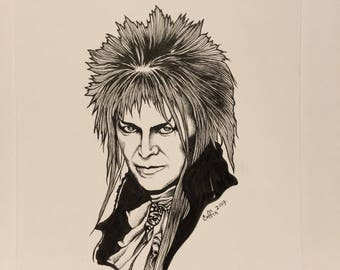 David bowie labyrinth original fan art drawing/music/fantasy/science/fiction/fairytale/disney/fashion/style/creature/animal/gnome/maze/game/
