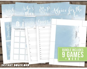 Instant download - DIY Printable Baby Shower Package Bundle - games + tags [BLUE WATERCOLOR]