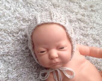 Newborn size knit textured round back bonnet,photo prop,gift idea,home coming,boy,girl,knit,crochet