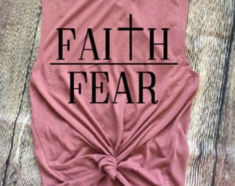 Faith Over Fear/ Ladies Muscle Tank/ / Faith/ Workout Tank/ Gift Idea