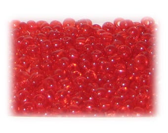 6/0 Red Transparent Glass Seed Beads, 1 oz. bag