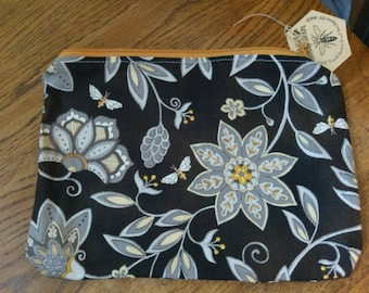 Gold and Black Bee Zipper Pouch