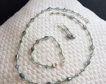 Wire Wrapped Crystal Necklace, Bracelet, and Earring Set