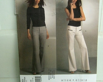 VOGUE American Designer Alice & Olivia PANTS sewing pattern 4 6 8 10 slightly flared uncut