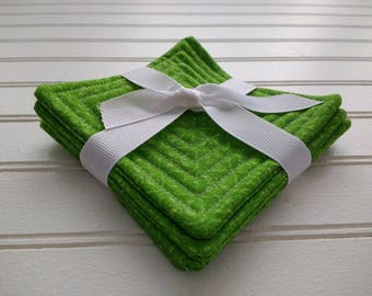 Set of 4 Quilted Coasters - Lime Mosaic