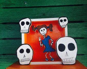 Dia de Los Muertos (Day of the Dead) La Chicita w/wall mount hangers
