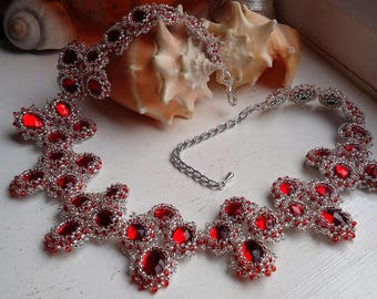 Ruby Red and Silver Coloured Beaded Choker Necklace