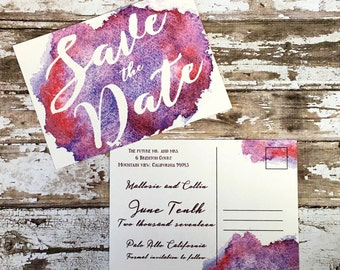 Save the date postcards, set of 10 printed handmade wedding cards, purple watercolor announcements, red wedding invitations, simple invites