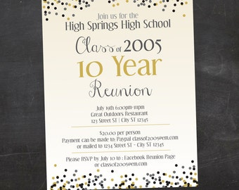Reunion invitation etsy confetti high school reunion college reunion or family reunion custom printable invitation pick your stopboris Image collections
