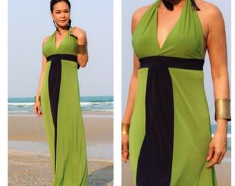 Color block Green navy blue  Halter long maxi dress all size