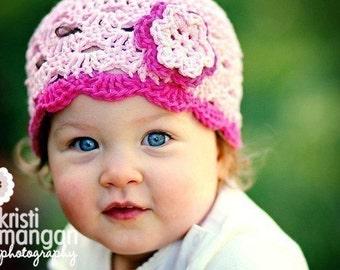Baby Girl Hat, Baby Hat, Newborn Hat, Crochet Hat, Infant Pink Hat, Newborn Girl Clothes Clothing Photo Prop Flower Cap Hat