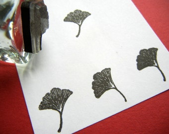 Tiny Ginkgo Leaf Rubber Stamp   Handmade rubber stamps by BlossomStamps