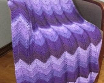 Purple Majesty Chevron Ripple Blanket
