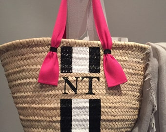 Ibiza-Basket with monogram and fabric strap