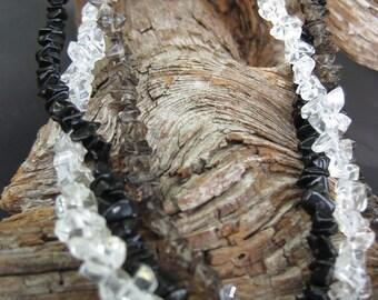 Three Strand Quartz and Blackstone Necklace