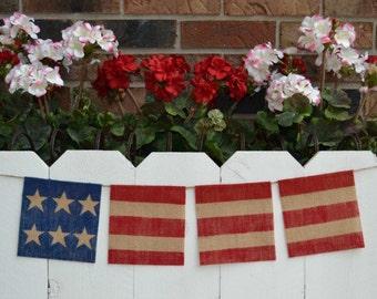 Fourth of July banner   ..  Patriotic  ..  Flag   ..  Burlap  ..  Banner