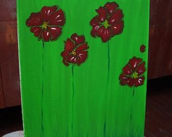Acrylic On Canvas. Red Poppy Flowers. 12x16