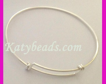 "solid 925 Sterling silver Charm Bangle Bracelet free size adjustable expendable from 6"" 6.5"" 7"" 7.5"" 8"" 8.5"" 9"""