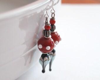 Red Earrings, Teardrop Earrings, Lampwork Glass Bead Earrings, Striped Earrings, Urban Modern Earrings, Dotted Earrings, Black Earrings
