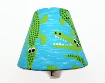 Alligator Night Light - Nursery Night Light - Boys Alligator Bedroom - Bathroom Nightlight - Boys Night Light - Crocodile Light - Green Blue