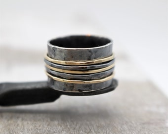 Rustic Silver Gold Spinner Ring - Silver and Gold Fiddle Ring Band - Meditation Ring - Gift for Her - Jewelry