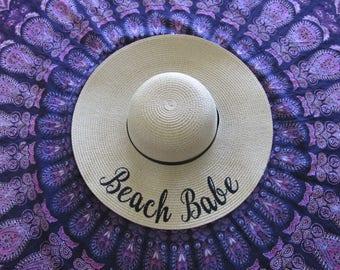 Beach Babe Beach Hat, Floppy Hat, Sun Hat, Girls Weekend Away, Bachelorette Party
