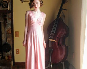 70's does 20's Fashion Vintage Gown Pink Maxi Dress