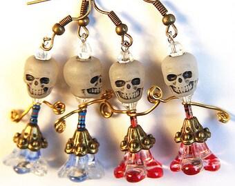 Statement Jewelry Ideas Fun Halloween Costume Accessory Skull Glow in the Dark Earrings day of the dead Resistor Electronic Zombee Dancer