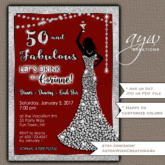 50th birthday party invitations woman bling dress fifty 50th birthday party invitations woman bling dress fifty fabulous womans birthday party invites printable bling cocktail party formal party filmwisefo Gallery