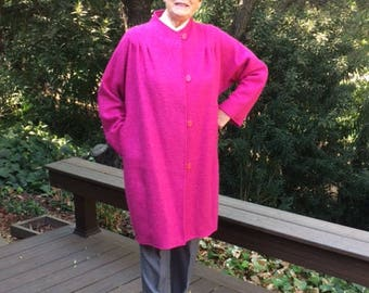 Hot Pink Wool Boucle Coat