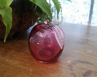 Glass Apple Paperweight Hand-Blown Cranberry Color