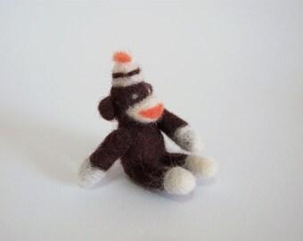 Needle Felted Monkey - Needle Felted Sock Monkey - Felted Monkey - Felt Monkey - Sock Monkey