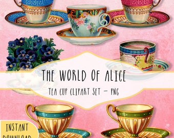 Tea Cups Clipart, Tea Cups Digital Collage, Victorian Tea Cups Clipart, Tea Cups Printable, Vintage Tea Cups Clipart, Instant Download