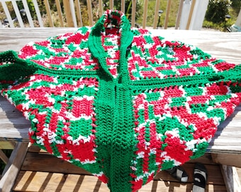 green, red and white shrug