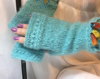 Mohair fingerless mitts