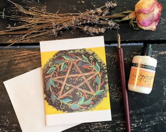 Yule Pagan Occult Blank Note Card,Wiccan Note Card, Greeting Card,Occult Greeting Card, Card Stationary,Original Art Sabbat Card  Cards