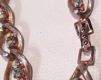 "AB Aurora Borealis Rhinestone Link Bracelet,  Gold Tone Metal,  Vintage Costume Jewelry,  7"" Long"