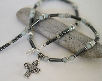 Men's Antiqued Silver Cross Necklace, Hematite and Quartz Masculine Necklace, Religious Necklace, Masculine Jewelry, Cross Necklace