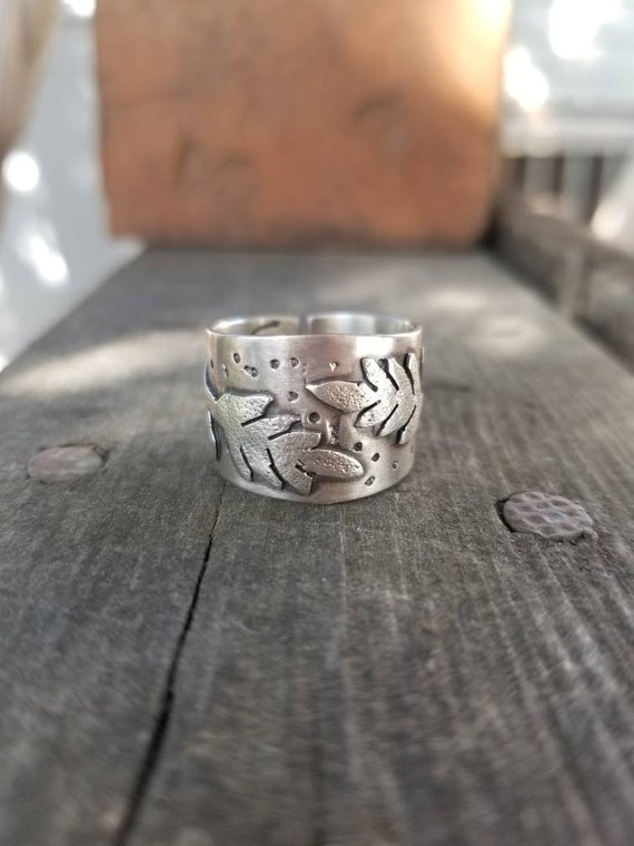 MADE-TO-ORDER: Handmade Wheat King Ring Band, Sterling Silver Statement Thumb Ring