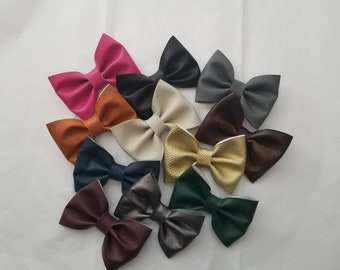 Vegan Leather Hair Bow (faux leather)