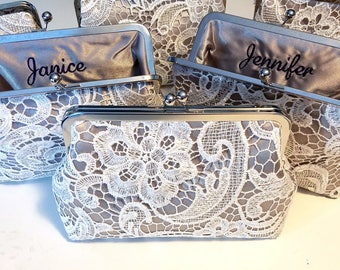 Grey Bridesmaid Lace Clutch Set of 5, 6, or 7, Personalized Lace Bridal Clutch, Bridesmaid Clutch, Lace Wedding Purse, 8-in Clasp