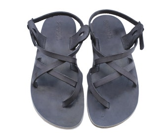 New - Gray Triple Leather Sandals For Men & Women - Handmade Sandals, Leather Flats, Leather Flip Flops, Unisex Sandals, Brown Sandals